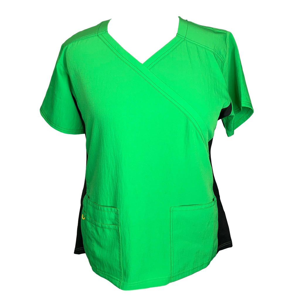 WonderWink Scrubs Four-Stretch Knit Panel Top (6514) >> Lime Green, 2X-Large