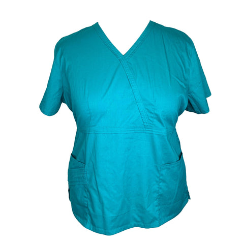 Cherokee Luxe Mock Wrap Top (1841) >> Teal, 2X-Large