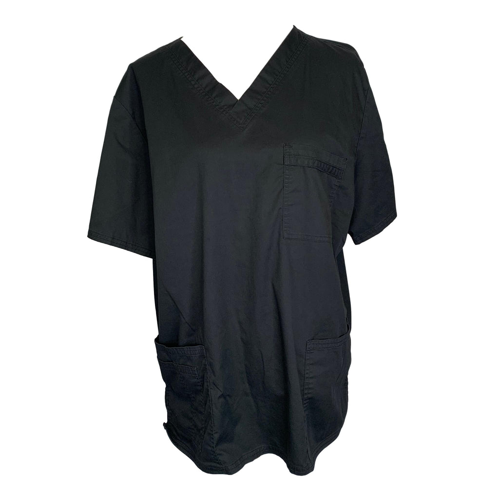 Cherokee Workwear Unisex Stretch V-Neck Top (4725) >> Black, Large