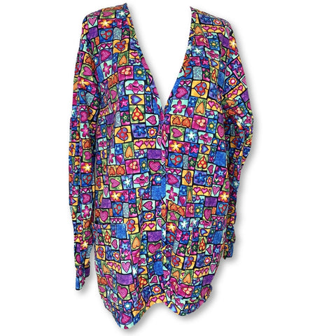 Barco Uniforms Heart Print Warm-Up Jacket (4568) >> Patterned, X-Small