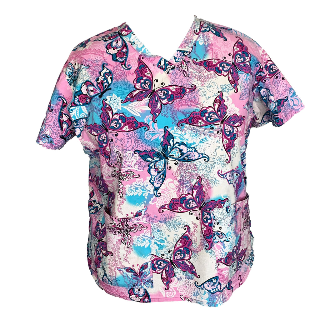 Med Couture V-Neck Butterfly Print Top (8473) >> Patterned, 2X-Large