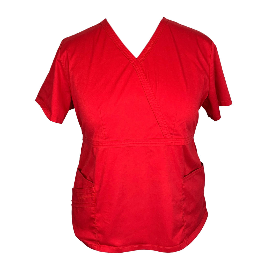 Cherokee Luxe Mock Wrap Top (1841) >> Red, 2X-Large