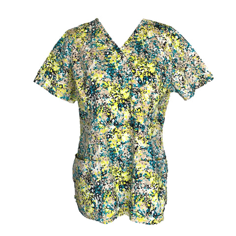 Cherokee Mock Wrap Flower Print Top (620) >> Patterned, Large