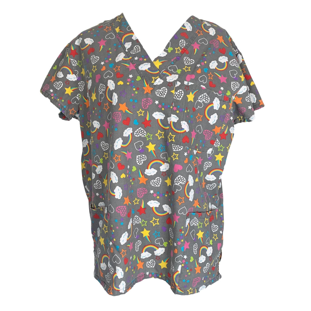 I Love Scrubs V-Neck Heart Print Top >> Patterned, Small