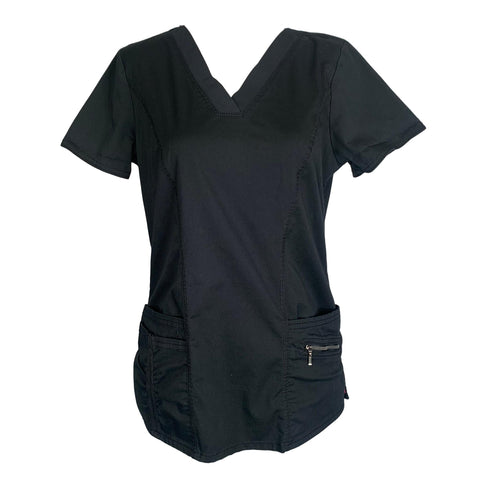 Beyond Scrubs V-Neck Top (12242) >> Black, Small