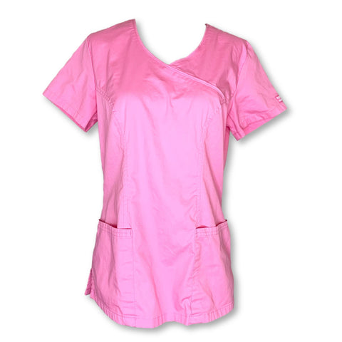 Butter-Soft V-Neck Mock Wrap Top (929) >> Pink, Small