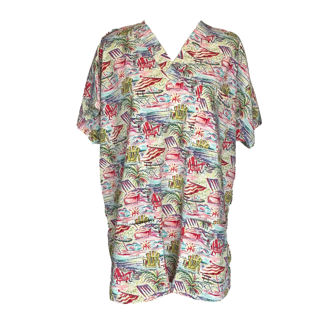 SCRUBS V-Neck Beach Print Top >> Patterned, Large