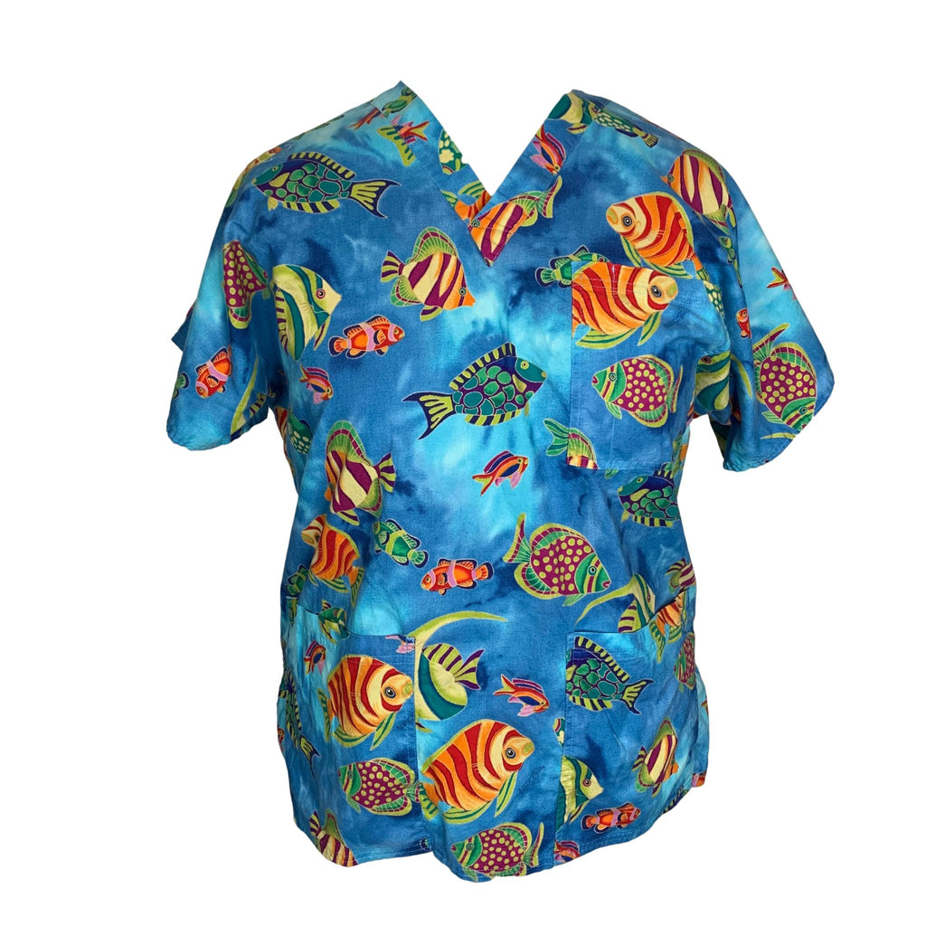 S.C.R.U.B.S. V-Neck Ocean Print Top >> Patterned, X-Large