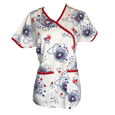 Uniform Advantage 4th of July Mock Wrap Top (68) >> Patterned, X-Small