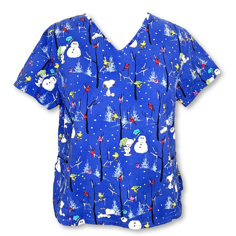 Peanuts V-Neck Snoopy Print Top (630) >> Patterned, 3X-Large