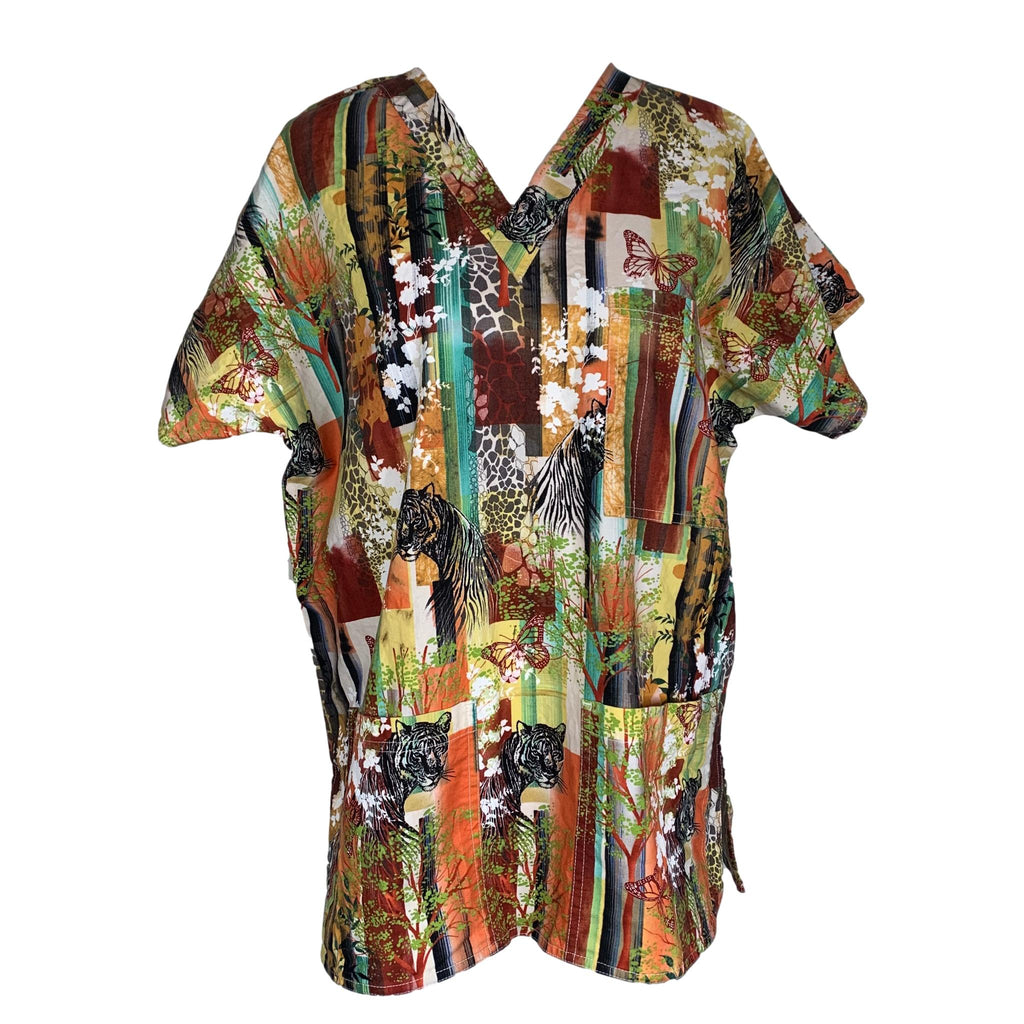 SCRUBS V-Neck Butterfly Print Top >> Patterned, Medium