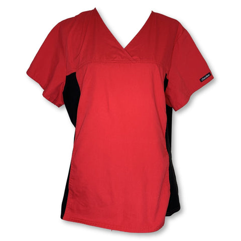 Cherokee V-Neck Knit Panel Top (2874) >> Red, Large