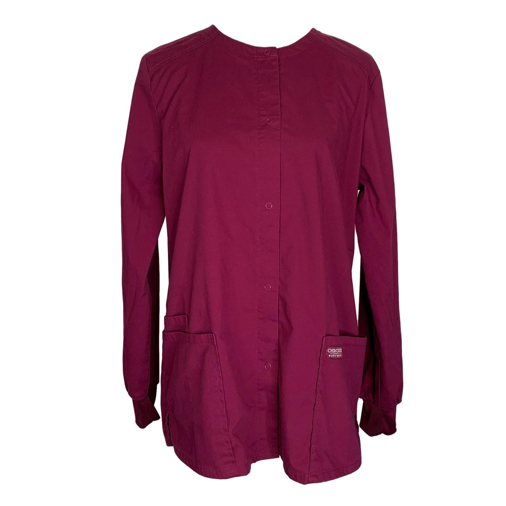 Cherokee Workwear Professionals Snap Front Jacket (340) >> Wine, Medium
