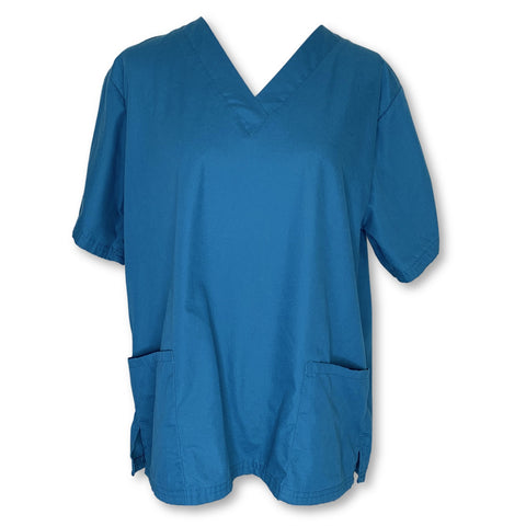 Butter-Soft V-Neck Solid Top (62) >> Caribbean Blue, Medium