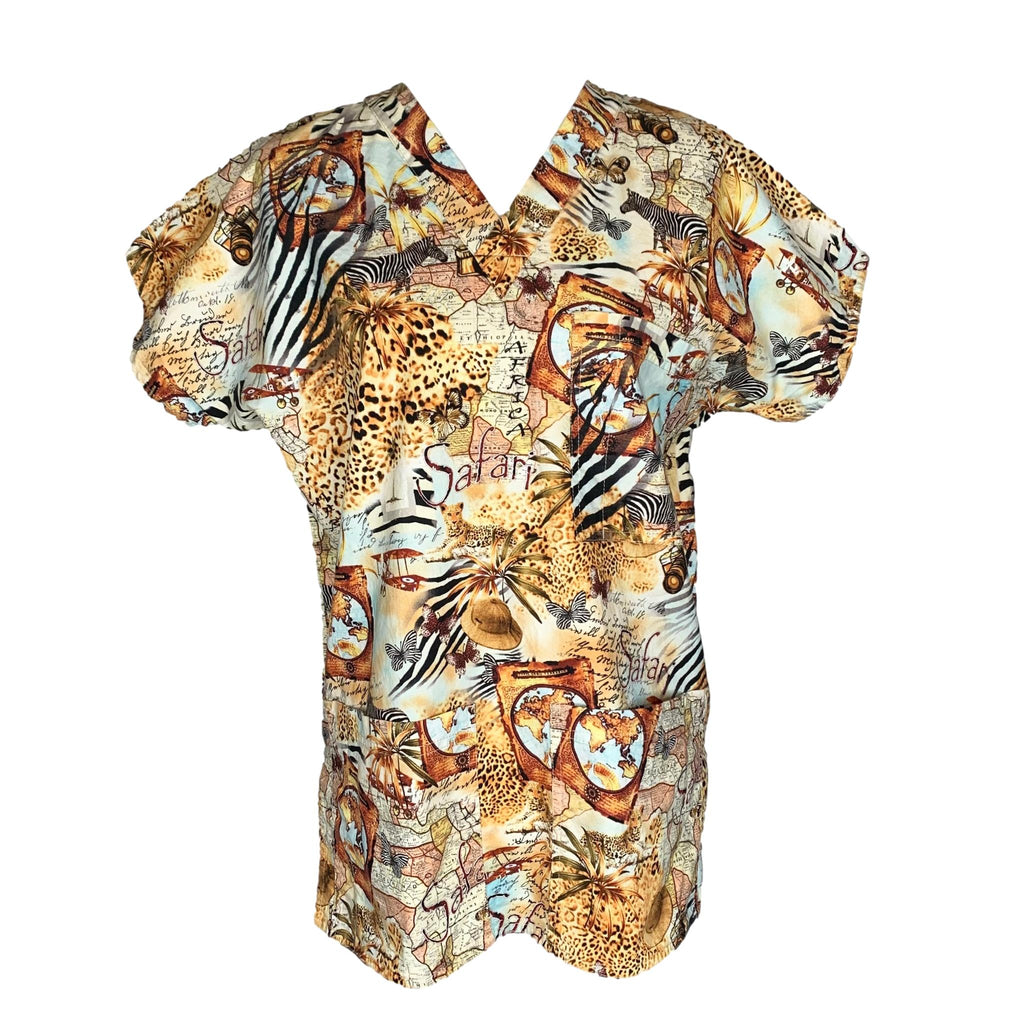 SCRUBS V-Neck Safari Print Top >> Patterned, Small