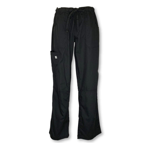 Butter-Soft Drawstring Waist Cargo Pant (32) >> Black, Small Tall