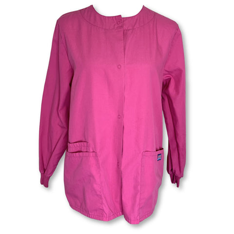 Cherokee Workwear Snap Front Jacket (4350) >> Shocking Pink, X-Small