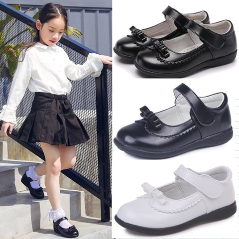 Black Leather School Shoes For Girls - Size; 4 5 6 7 8 9 10 11 12 13-16T