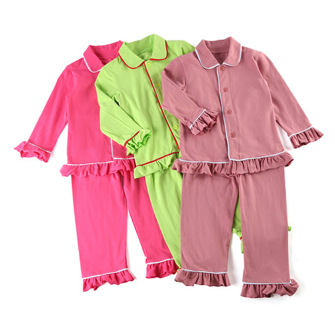 100% cotton solid color Boys Girls sleepwear button Family Matching Children Christmas Ruffle kids Pajamas