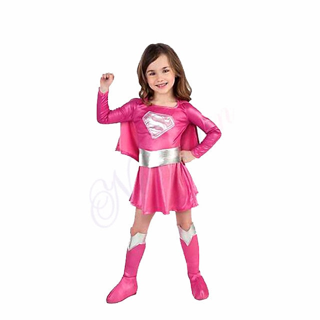 Superman Dress  Super Hero Cosplay Costume Christmas Halloween Costume For Kids Child