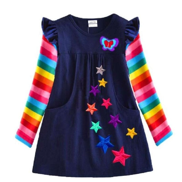 Dxton Long Sleeve Girls Dress 2019 Winter Children Costume Sequin Butterfly Striped Casual Dresses Christmas Baby Girls Clothes