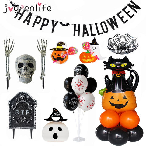 Halloween Decoration Pumpkin cat Foil Balloon Banner Haunted House Home Garden Decor Horror Skull Skeleton Halloween Trick Props