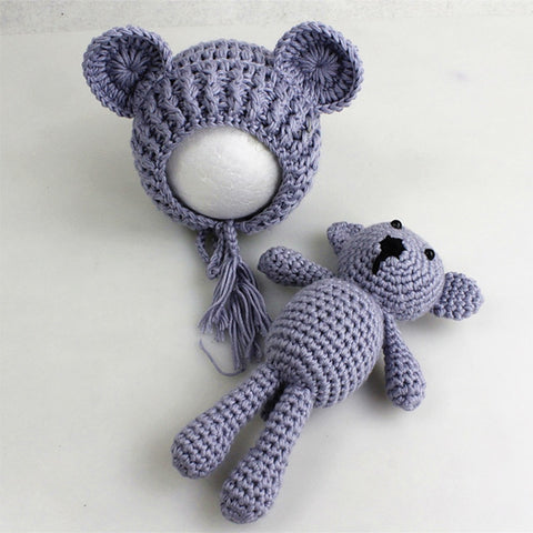 Crochet  Soft Baby Hat And Teddy Bear