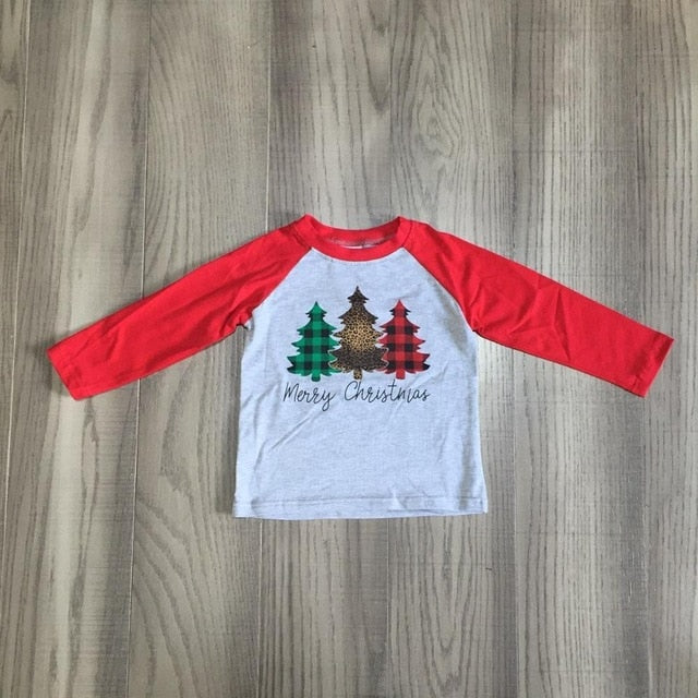 Girls' Christmas Trees' T Shirt - Cotton Top With Plaid Sleeve
