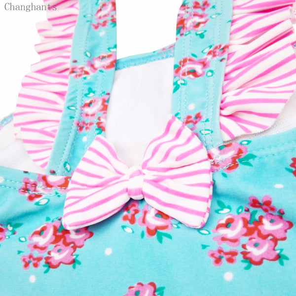 One Piece Summer Swimwear with Little Flower Pattern 2-4Years