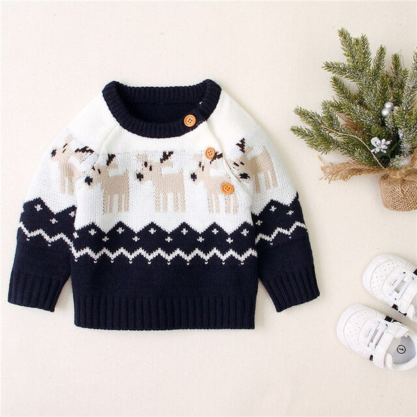 Newborn Christmas Sweater Knitted Baby Clothes Baby Boys Sweaters Deer Girls Cardigan Toddler Boy Sweater Kids Knitwear Jumper