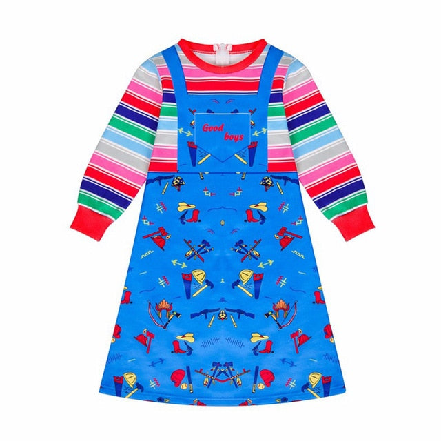 Kids Halloween Child's Play Chucky Cosplay Costume Long Sleeve Jumpsuit or Dress