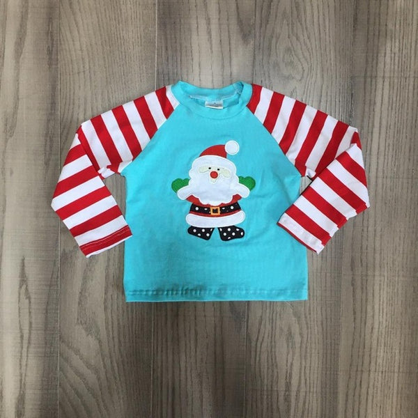 Long Sleeve Girls Christmas and Santa Themed Cotton Tees