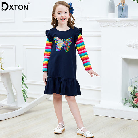 Long Sleeve Girls Dress 2019 Winter Children Costume Sequin Butterfly Striped Casual Dresses Christmas Baby Girls Clothes