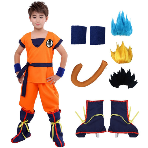 Halloween Dragon Ball Z Suit Clothes Son Goku Cosplay Costumes Top/Pant/Belt/Tail/wrister/Wig