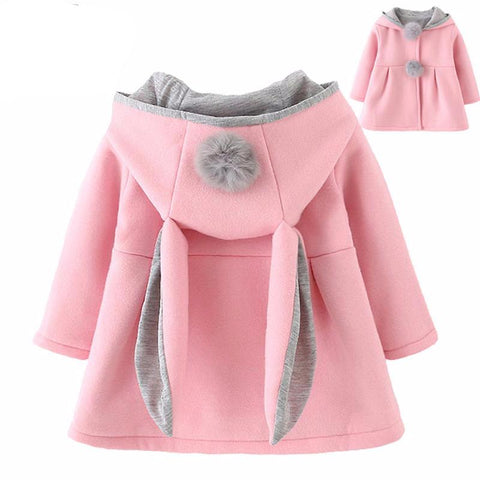 Baby Toddler Girl Rabbit Ear Hooded Solid Color Cute Coat