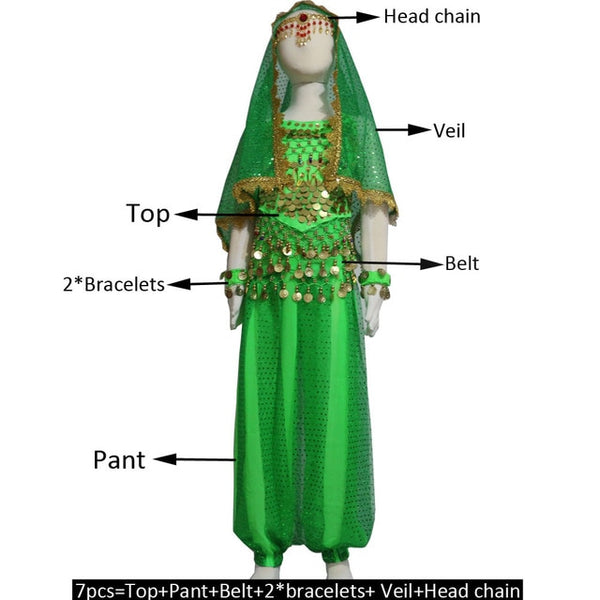 Kids Belly Dance Costumes Set Oriental Dance Costume, Egyptian Bollywood Indian Belly Dancing