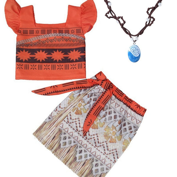 Kids Princess Moana Cosplay Costume Girls Gifts Halloween Birthday Party Dress Set Girl Vaiana Dress Necklace Cosplay Costume