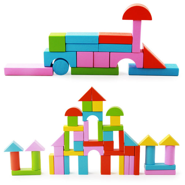 Early Childhood Educational 50 High-Quality Color Geometric Shapes Assembled Wooden Building Blocks