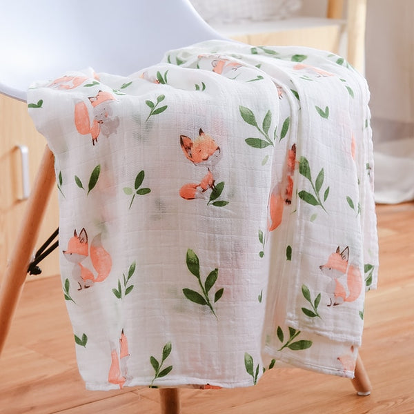 "Muslin Blanket Cotton swaddle with Border 47""x47"""
