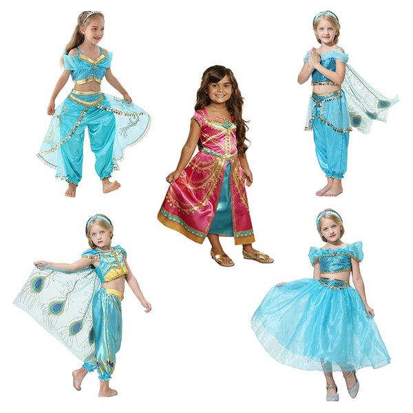 Kids Summer Princess Dance Dress Children Aladdin Halloween Party Performance Costume