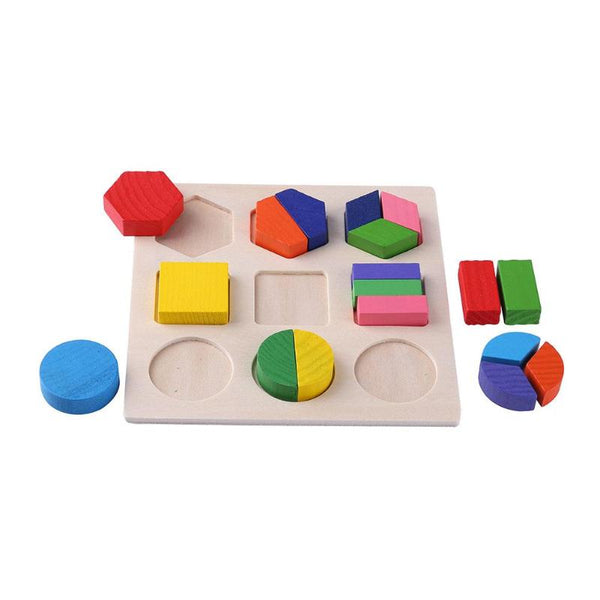 Wooden Geometric Shapes Montessori Puzzle Sorting Math Bricks Educational Game