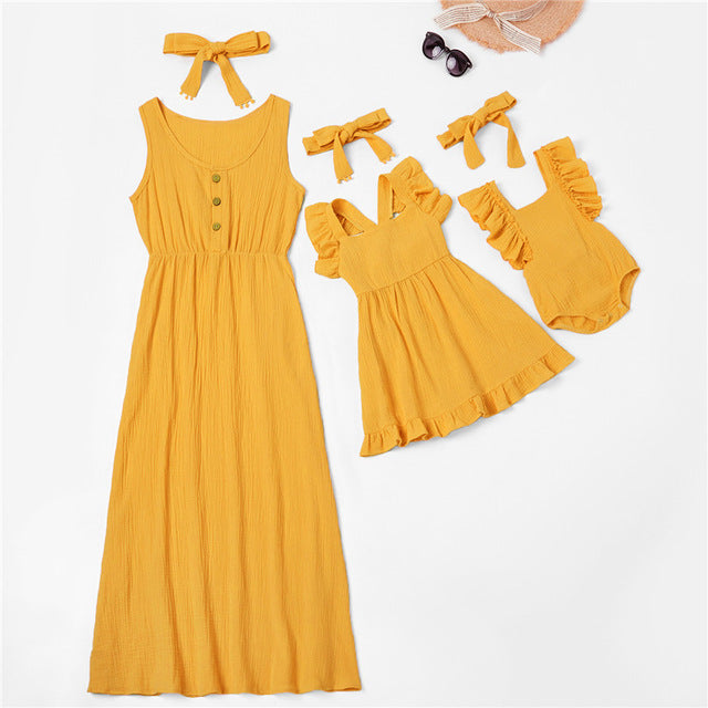 Matching Mustard Sleeveless Summer Dresses- Mom and Daughter