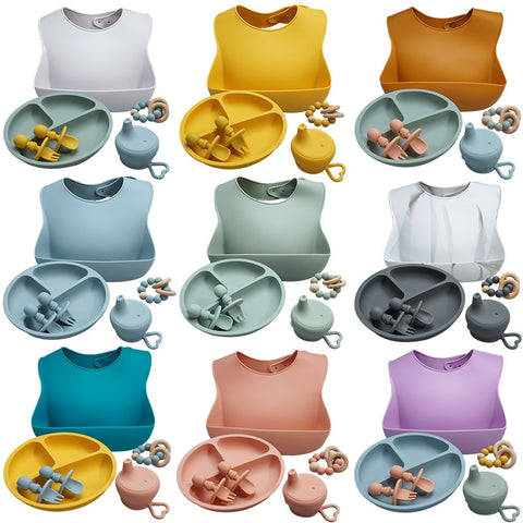 Roll up Travel Baby Bib Set Premium Silicone ( BPA Free)