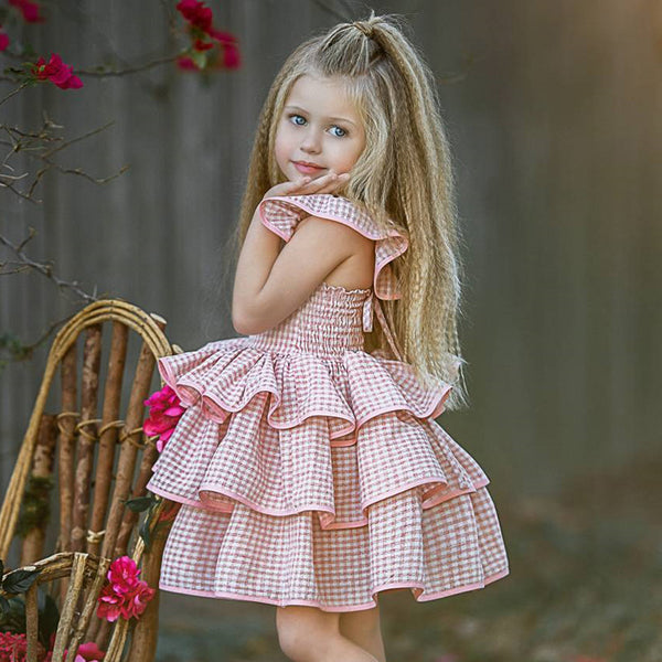 Pink checkered Print short sleeve dress