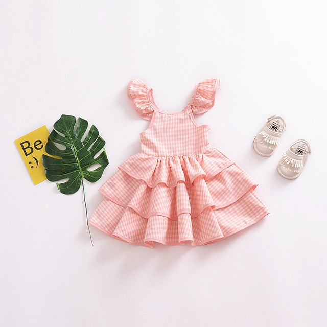 Pink Print Short Sleeve Ball Gown Dress