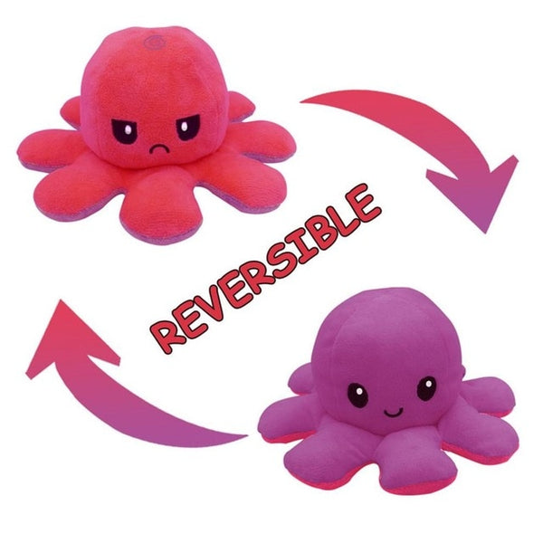 Reversible Emotional Octopus Plushie - Two Colours, Two Moods