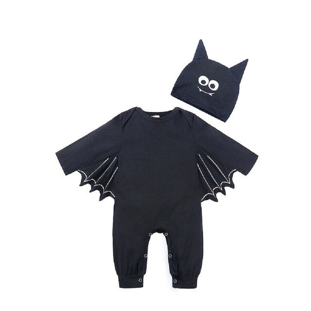 3-24Month Infant Unisex Bat Halloween Cosplay Costume Romper Hat Outfits Clothes