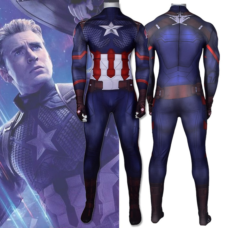 Captain America Cosplay Costume Zentai Superhero Bodysuit Adults Kids Digital Printing One-Piece Jumpsuits