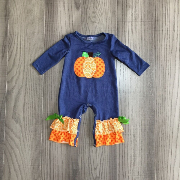 Baby Halloween Pumpkin Romper infant polka dots toddler Fall Navy Blue Romper with Ruffle