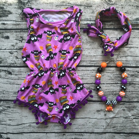 Baby Girl Bat and Pumpkin Boutique Halloween Outfit Romper Newborn Girl with headband necklace